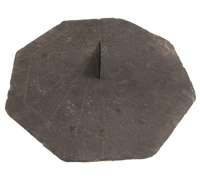 16th Century Slate Stone and Bronze Sundial For Sale 5