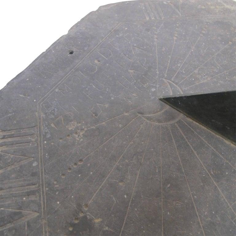 European 16th Century Slate Stone and Bronze Sundial For Sale