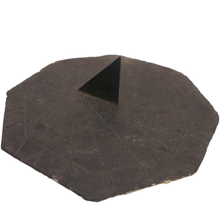 16th Century Slate Stone and Bronze Sundial For Sale