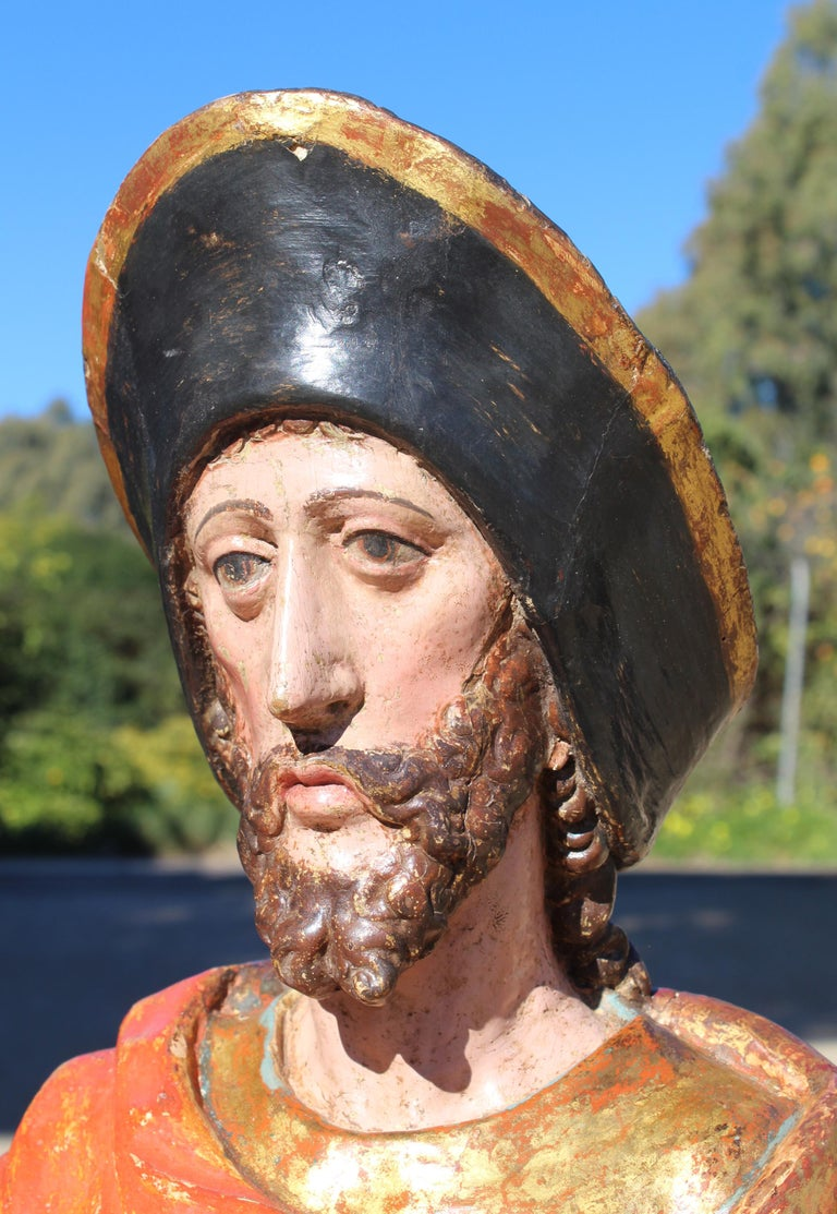 16th Century Spanish Gilded Painted Wood Sculpture of Saint Roch For Sale 5
