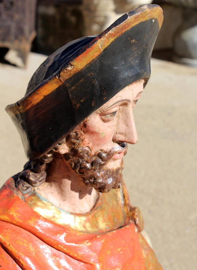 16th Century Spanish Gilded Painted Wood Sculpture of Saint Roch For Sale 6