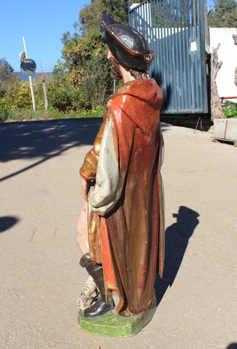 16th Century Spanish Gilded Painted Wood Sculpture of Saint Roch For Sale 2