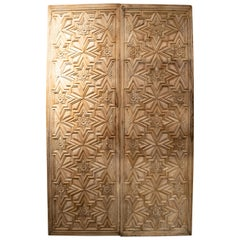 16th Century Spanish Lime Washed Hand Carved Wooden Double Door