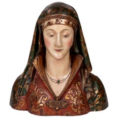 16th Century Spanish Wooden Painted and Gilded Reliquary Bust of a Saint