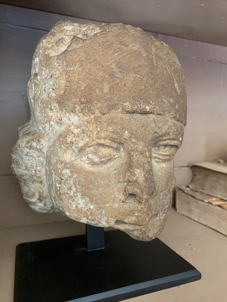 Renaissance 16th Century Stone Head For Sale