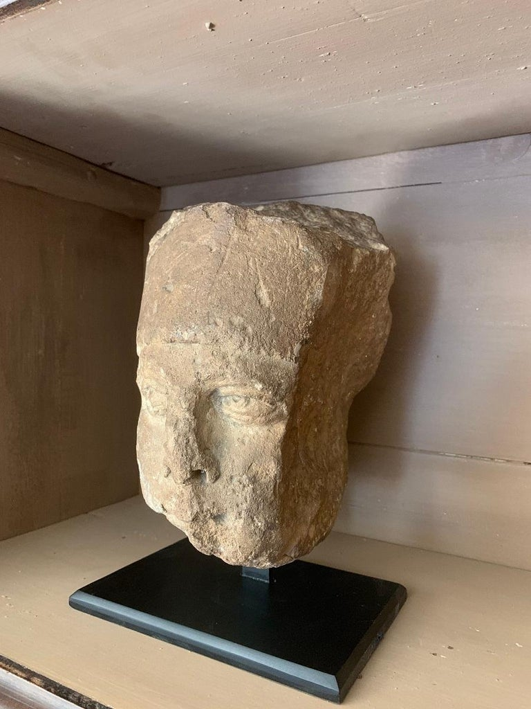 French 16th Century Stone Head For Sale