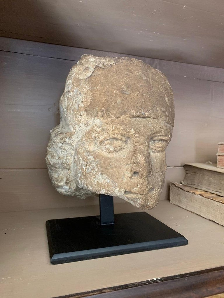Hand-Carved 16th Century Stone Head For Sale