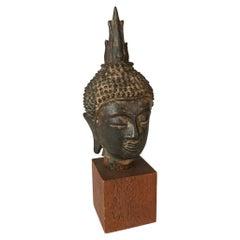 16th Century Thai Bronze Head of the Buddha