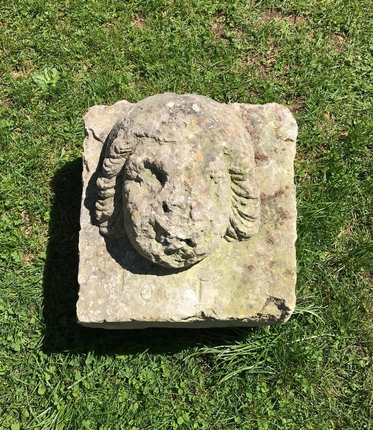 Although there is a date of 1861 incised below the face, we know this piece is much earlier from its form and carving detail. We believe she originally was embedded in a wall over a doorway and could be so again. However, she would also make a