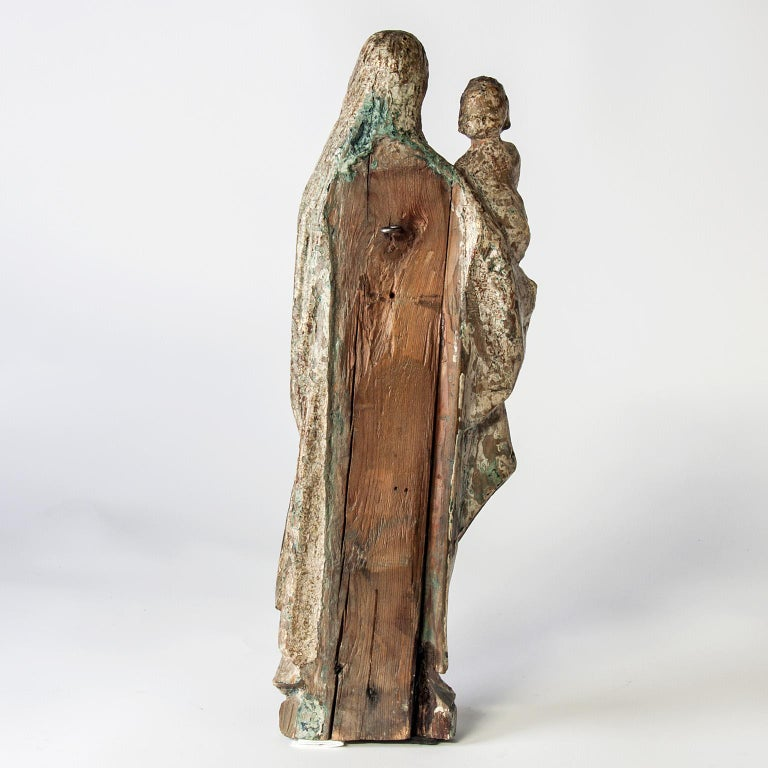 Belgian 16th Century Wooden Madonna with Child, circa 1500 For Sale