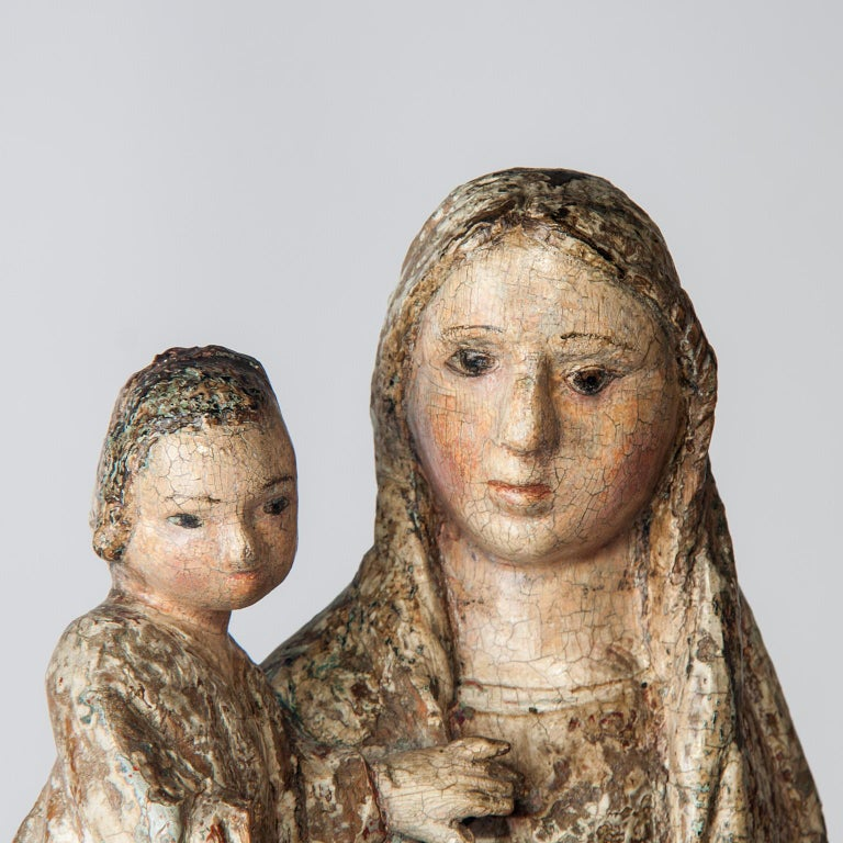 18th Century and Earlier 16th Century Wooden Madonna with Child, circa 1500 For Sale