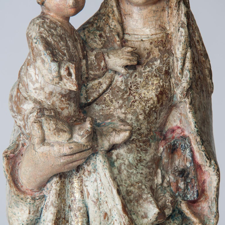 16th Century Wooden Madonna with Child, circa 1500 For Sale 1