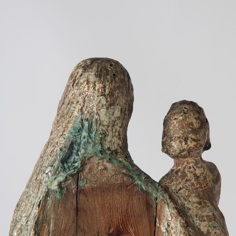 16th Century Wooden Madonna with Child, circa 1500 For Sale 3