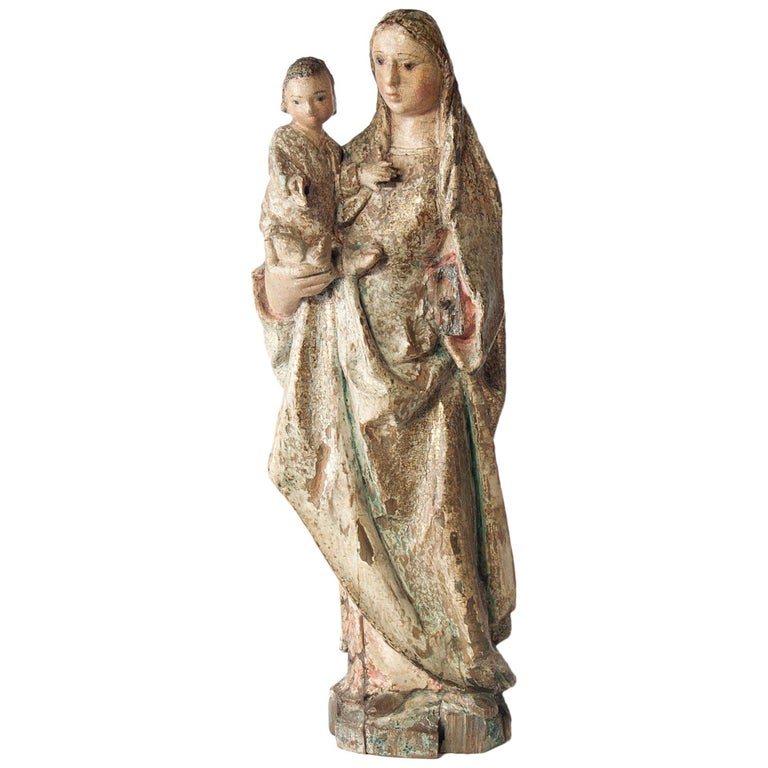 16th Century Wooden Madonna with Child, circa 1500 For Sale