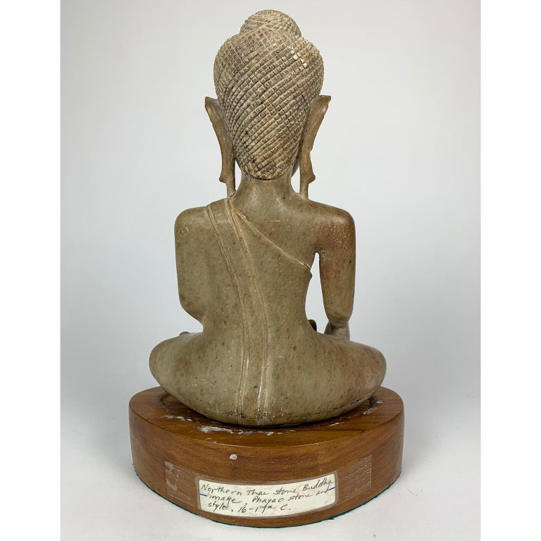 18th Century and Earlier 16th or 17th Century Northern Thai Carved Stone Buddha, Phayo For Sale