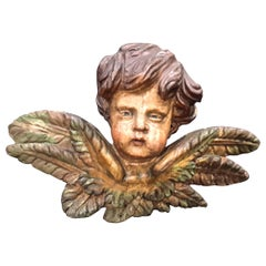 17th-18th Century Carved Polychromed Angel Head