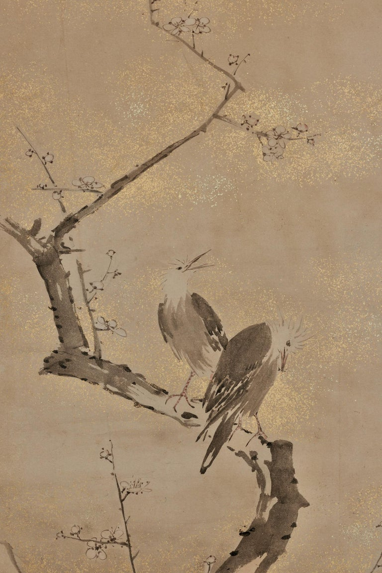"""Yamaguchi Sekkei (1644-1732)  Spring plum and birds  Framed panel, ink and gold fleck on paper  Dimensions:  W. 54 cm x H. 128 cm (21"""" x 50"""")  A framed Japanese panel depicting a pair of birds on an ancient and twisted plum tree. The"""