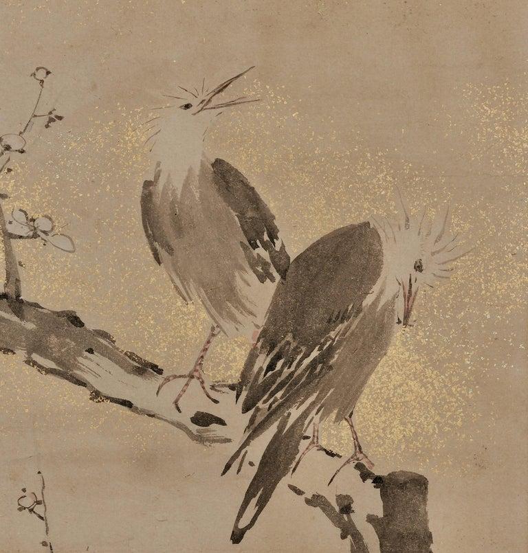 Edo 17th-18th Century Framed Japanese Painting, Ink Plum & Birds by Yamaguchi Sekkei For Sale