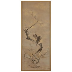 17th-18th Century Framed Japanese Painting, Ink Plum & Birds by Yamaguchi Sekkei