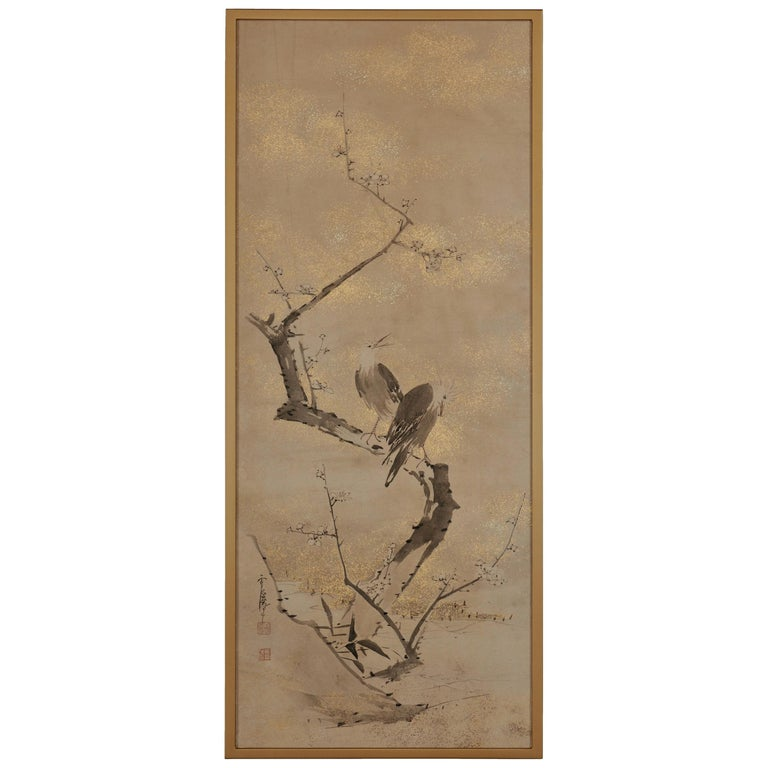 17th-18th Century Framed Japanese Painting, Ink Plum & Birds by Yamaguchi Sekkei For Sale