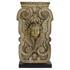 17/18th Century French Carved Oak Panel with Winged Angel Head
