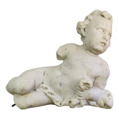 Large 17/18th Century Italian Carved Carrara Marble Baroque Angel Fragment