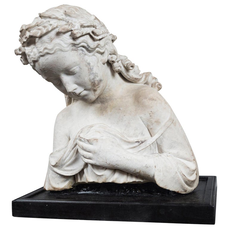 17/18th Century Marble Bust of Young Woman For Sale