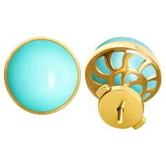 17 Carat Armenian Vivid Blue Turquoise 18 Karat Yellow Gold Stud Earrings