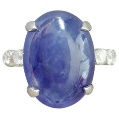 17 Carat Blue Sapphire Oval Cabochon Gold Full Cut Round Diamonds Cocktail Ring