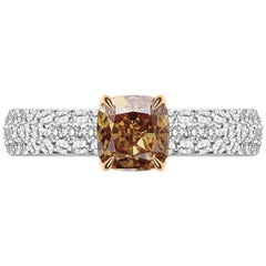 1.7 Carat Cognac Diamond and White Diamond 14 Karat White Gold Ring