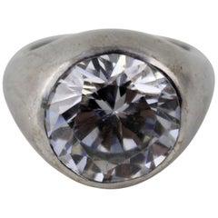 17-Carat Cubic Zirconia 18-Carat White Gold Set Ring