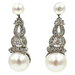1.7 Carat Diamond South Sea Pearl Drop Earrings 18 Karat White Gold