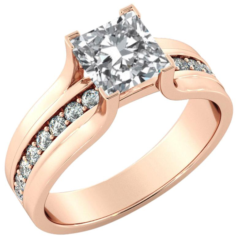 1.7 Carat GIA Princess Cut Diamond Engagement Ring, Bridge Channel Set Diamond