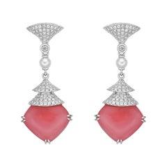 17 Carat Moonstone Earrings in 18 Karat Gold with Diamond & Pearls