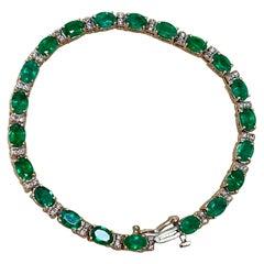 17 Carat Natural Zambian Emerald & Diamond Tennis Bracelet 14 Karat Yellow Gold