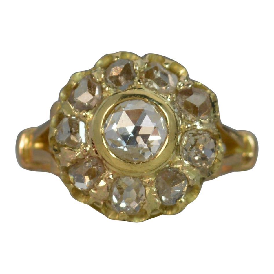 1.7 Carat Old Rose Cut Diamond 18 Carat Gold Cluster Ring