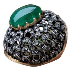 17 Carat Oval Chrome Diopside Bubble Ring 2.00 Carat Diamond