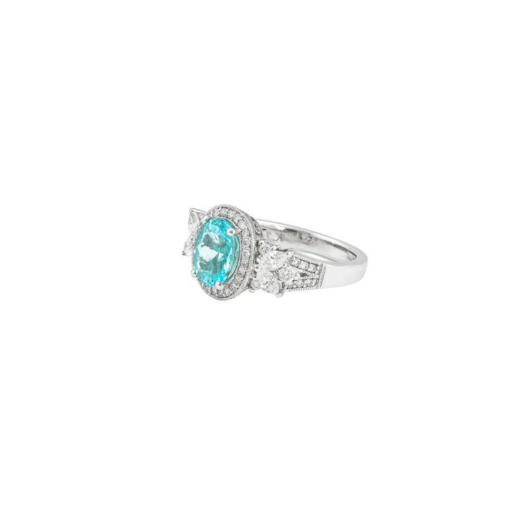 Oval Cut 1.7 Carat Paraiba and White Diamond Ring in 18 Karat White Gold For Sale