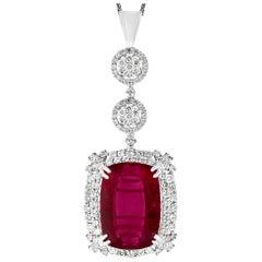 17 Carat Rubelite and 4 Carat Diamond Pendant / Necklace 14 Karat Gold, Estate