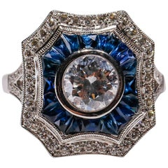 Art Deco Inspired New Blue Sapphire 0.42 Carat Diamond 18 Karat White Gold Ring