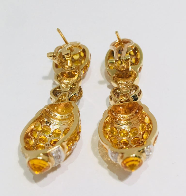 Women's 17 Carat Yellow Sapphire and Diamond Harlequin Yellow Gold Door Knocker Earrings For Sale
