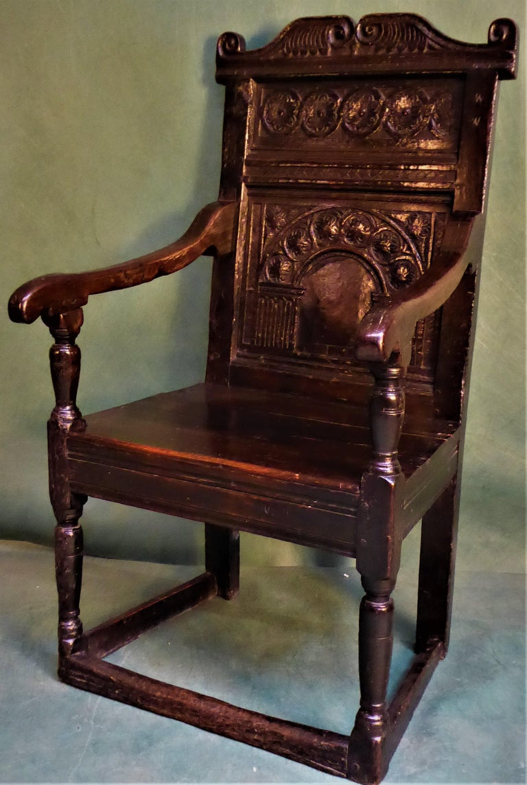 Carved 17 Century Joined Oak Armchair circa 1630 For Sale