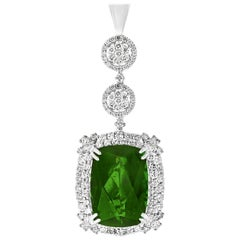 17 Carat Green Tourmaline and 4 Carat Diamond Pendant / Necklace 14 Karat Gold