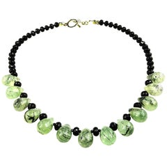 Green Prehnite and Black Onyx Necklace