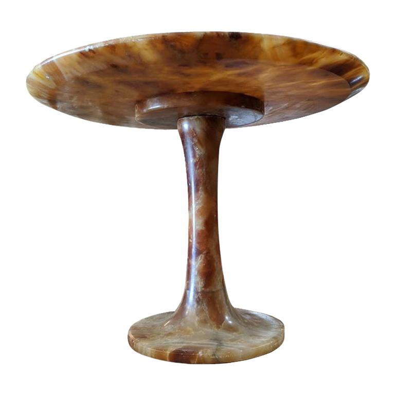 Onyx Guéridon Tulip Base Pedestal For Sale