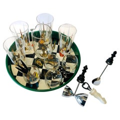 17-Piece Set Chess Themed Green, Black, Gold & Red Tray with Glass & Barware Set
