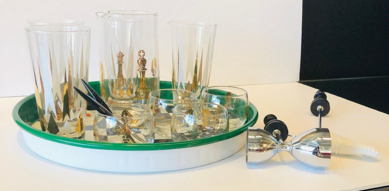American 17-Piece Set Chess Themed Green, Black, Gold & Red Tray with Glass & Barware Set For Sale