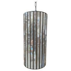 """17"""" Post Modern Copper Mirrored Cylinder Chandelier"""