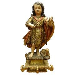 17th Century Spanish Felipederibas Workshop San Juanito Carved Gilded Sculpture