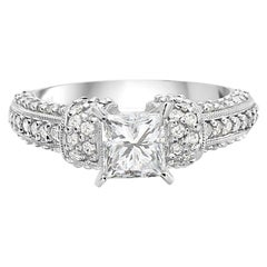1.70 Carat 18 Karat White Gold Princess Cut Pave Set Engagement Ring